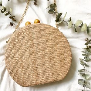 NWT Round Woven Basket Clutch NATURAL